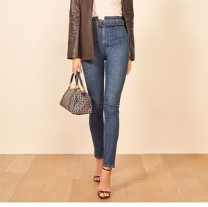 Reformation kayo high and skinny belted jeans